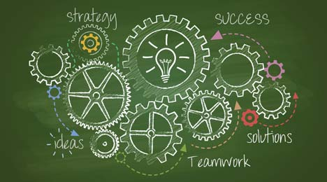 Cogs as a symbol of a well-organised working system for successful program delivery